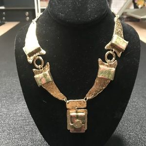 J. Jansen Pink Stone Gold Statement Necklace